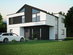 Diese 3D Visualiserung eines Wohnhauses zeigt ein gehobenes Architektenhaus. Klare Linien und entspannte Schlichtheit.