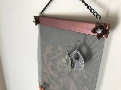 Mini Maroon Swirl Wall Hanging Jewelry Organizer