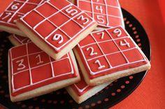 Sudoku Cookies - for Nancy - Gesundes Essen Cool Whip Cookies, Super Cookies, Fudge Cookie Recipe, Easy Cookie Recipes, Marker, Cookie Dough Cupcakes, Sudoku, Christmas Cookies Gift, Cookie Packaging