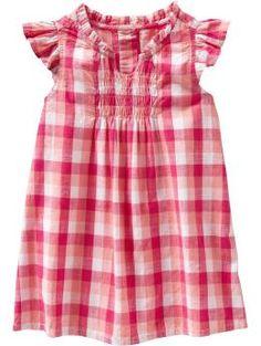 Ruffle Flutter-Sleeve Dress in Pink Gingham $16.94