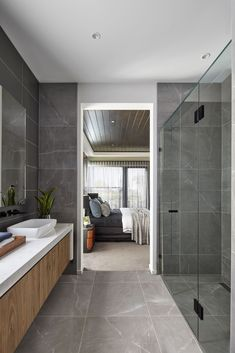 Ensuite // Discover the Designer by Metricon Berkshire, on display in Kialla, VIC. Modern Bathroom Tile, Ensuite Bathrooms, Bathroom Renos, Bathroom Interior Design, Master Bathroom, Grey Modern Bathrooms, Colorful Bathroom, Bathroom Pink, Boho Bathroom
