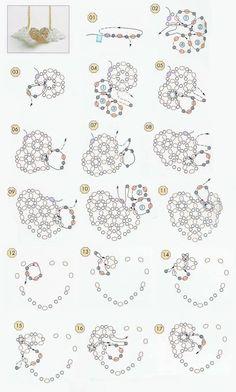 объемное сердце из бисера и бусин, понятная схема плетения, брелок, кулон, серьги