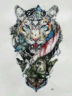 ▷ 1001 ultra cool tiger tattoo ideas for inspiration colorful drawing, tiger, butterflies, leaves, tattoo template Side Body Tattoos, Body Art Tattoos, Cool Tattoos, Bird Tattoos, Tattoo Art, Horse Tattoos, Tattoos Motive, Tatoos, Celtic Tattoos