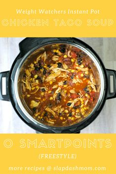 1 small onion, chopped 1 15.5oz can seasoned black beans, drained 1 15.5oz can light kidney beans, drained 1 8oz can tomato sauce 10oz bag frozen corn 2 10oz cans diced tomatoes with green chiles 1 packet taco seasoning 1 tsp cumin 1 tsp chili powder 2 boneless, skinless chicken breast ½ cup water
