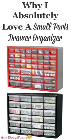 One of the most common questions I get is how to organize items with lots of small parts. Consistently, my answer is to use a small parts drawer organizer where possible. They're the best!