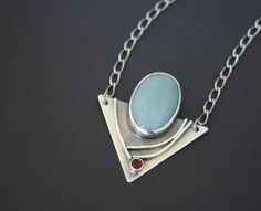 Amazonite and Fire Citrine Modern Edgy Necklace in Sterling