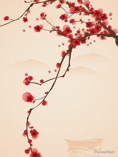 """""""Whimsical Red Cherry Blossom Tree"""" iPhone Case Cover by RumourHasIt Redbubb , Chinese Cherry Blossom, Cherry Blossom Drawing, Red Cherry Blossom, Blossom Tree Tattoo, Blossom Trees, Blossom Flower, Cherry Blossom Wallpaper Iphone, Branch Drawing, Red Tree"""