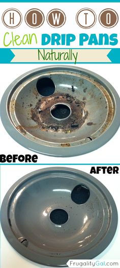 How to clean drip pans naturally. Quick and easy method. I just used this tip and know I'll forget. :)