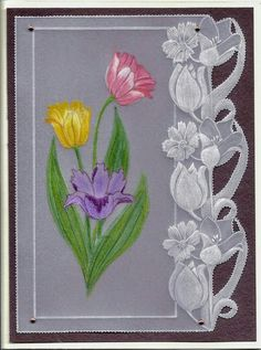 T t tulips edge Diy Christmas Cards, Xmas Cards, Parchment Cards, Outline Drawings, Stencil Designs, Reborn Babies, Decoupage, Stencils, Card Making