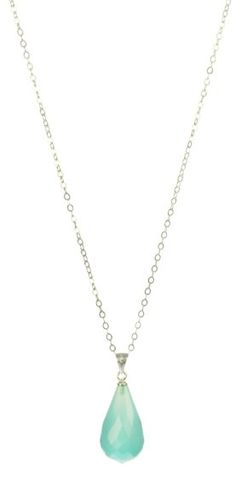 "Amazon.com: Sterling Silver Chain with Faceted Sea Blue Chalcedony Drop Pendant Necklace, 18"": Jewelry"