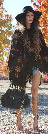 Modern hippie fringe poncho gypsy style with bohemian hat. For the BEST boho chic fashion & jewelry FOLLOW http://www.pinterest.com/happygolicky/the-best-boho-chic-fashion-bohemian-jewelry-gypsy-/
