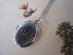 Initial Locket Necklace Personalized Locket Antiqued by PrettyDIY, $9.99