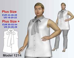 Plus size Blouse Sewing Pattern PDF, sizes 18-28, Blouse sewing pattern