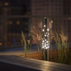 Outdoor Lighting - Light Column Bollard shown in Stainless Steel with Satin finish with 360 degree Bubbles shield at One Prudential Plaza Rooftop Deck, Chicago, Illinois Bollard Lighting, Pathway Lighting, Outdoor Lighting, Park Lighting, Blitz Design, Landscape Lighting Design, Lawn Lights, Light Images, Garden Lamps