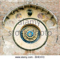 Torre dell'Orologio. Clock Tower of the Palazzo della Ragione in the Piazza Erbe. . Mediaeval city of Mantua, Lombardy, - Stock Photo