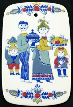"Vintage Figgjo Fajanse Turi Design ""The Family"" Trivet"