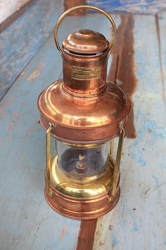 Beach Decor Brass and Copper Lantern Glass Vintage by SEASTYLE, $199.00