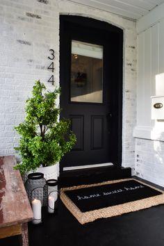 50 Stunning Modern Farmhouse Front Door Entrance Ideas - Interior and Exterior Design - Front Door Entrance, Front Door Decor, Front Door Numbers, Fromt Porch Decor, Fromt Porch Ideas, Porch Entry, Front Porch Bench Ideas, Front Porch Decorations, Dark Front Door