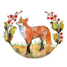 Fox And Flowers Sale 3 For 2 Foxy Garden Animal Art Print