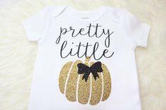 Pretty Little Pumpkin Gold Glitter Halloween Shirt, Halloween Onesie, Babys First Halloween, Glitter Halloween Shirt by BellesandBeausInc on Etsy https://www.etsy.com/listing/246836080/pretty-little-pumpkin-gold-glitter