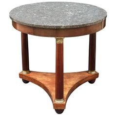 Green Marble Top End Table W Mahogany Finish Amp Brass Base