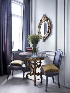 greige: interior design ideas and inspiration for the transitional home : Grey and gold on the walls