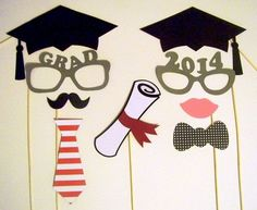 Graduation Photo Booth Prop. This graduation photo booth prop set include graduation caps, glasses and masks, ties as well as diploma matted as shown with ribbon to create your graduation party a funny decor and set up the tone for your celebration.