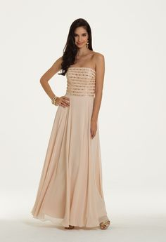 Camille La Vie Chiffon Beaded Strapless Dress for Prom