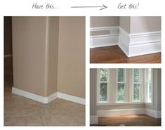 """Add a strip of skinny molding about 2-4"""" above your old molding, and paint the space between."""