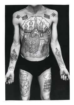 Police Files 10. This thief is tattooed in the traditional fashion with a large image (usually a church or a cross) taking up the most important part of the body: the chest. This is intended to show a devotion to the thieves' traditions and stand as proof that his body is not tainted by betrayal, that he is 'clean' before his fellow thieves. The number of cupolas on the church signifies the number of convictions (in this case six).