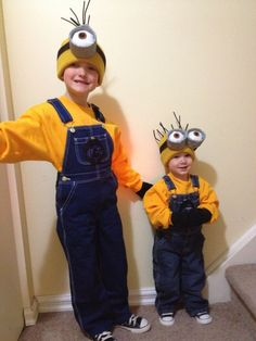 Alike Minion 2014 Halloween Costumes for Brothers - Beanie, Jeans, Canvas shoes,