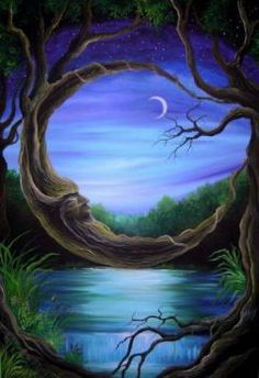 Fantasy Forest ~ by shonefluoart on deviantART Nature Pictures, Cool Pictures, Beautiful Pictures, Beautiful Nature Wallpaper, Beautiful Moon, Fantasy Forest, Fantasy World, Magic Forest, Deep Forest