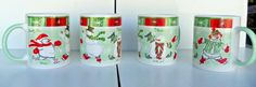 Snow Family Collection Set 4 mugs Collectible Seasonal Holiday Snowmen Winter