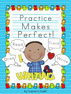 Practice makes perfect! #Handwriting Practice #Workbook: Read, Trace, Write, Draw
