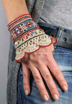 Beige Mint Turquoise Red Burgundy Sea Blue Crochet Bracelet - Crochet Cuffs by Katerina Dimitrova - Crochet Beaded Bracelets, Fabric Bracelets, Cuff Bracelets, Cuff Jewelry, Diamond Bracelets, Bangles, Fabric Beads, Fabric Jewelry, Freeform Crochet