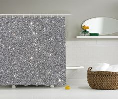 Gray Glitter Effect Print Faux Silver Texture Matt Picture Fabric Shower Curtain #Ambesonne