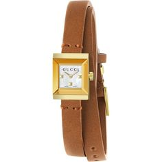 Gucci YA128521 Women's G-Frame Leather Strap Watch, Tan/White ($735) ❤ liked on Polyvore featuring jewelry, watches, accessories, bracelets, leather strap watches, gucci jewelry, square face watches, gucci watches and gucci