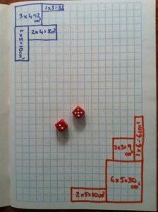 MATH GAME: A game for 2 or 3 players. Each player chooses a color pencil they will use in the game. Players take turns rolling the dice, using the numbers that they rolled to draw the perimeter of a rectangle or square & writing the area in the middle of the shape. Game ends when players run out of room to draw. Winner is the player who has used the largest area/most squares. —
