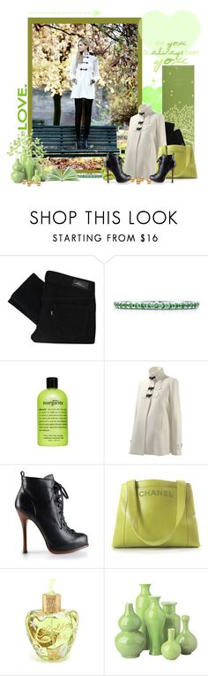 """Green, Green, Green"" by peonyandpython ❤ liked on Polyvore featuring Gaiam, Levi's, Tiffany & Co., philosophy, Isabella Oliver, Dsquared2, Chanel, Lolita Lempicka, Tozai and duffle coat pearls autumn love booties chanel fall love romantic"