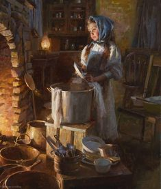 """by Morgan Weistling, """"The Dishwasher"""" - oil Morgan Weistling, Mode Poster, Munier, Victorian Paintings, Box Art, Beautiful Paintings, Traditional Art, American Art, Kitsch"""