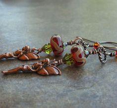 Red Lampwork Beads Swarovski Crystals Woodland Faerie by Ctbydonna, $38.00