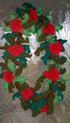 My crochet holly wreath