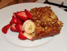 Baked Challah French Toast Casserole with Pecan Praline