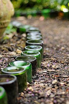 glass bottle edging. Imagine adding lighting!