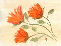 Original Watercolor Painting 3 Bloom 2 8.5 X by GiniJackOriginals, $53.95