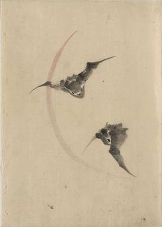 2 Bats Flying by Hokusai