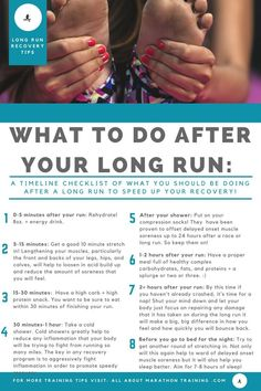 Long Distance Running Recovery Plan An Actionable Timeline! is part of fitness This is your long distance running recovery plan set out in timeline form! What and when you start the recovery process - Demi Marathon, Half Marathon Recovery, Chicago Marathon, Beginning Running, Cross Country Running, Cross Country Quotes, Running For Beginners, Fitness For Beginners, 5k Training For Beginners