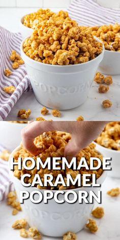 Caramel Popcorn Recipe No Corn Syrup, Caramel Corn Recipes, Popcorn Recipes, Easy Caramel Popcorn, Fun Baking Recipes, Sweet Recipes, Real Food Recipes, Yummy Food, Homemade Popcorn