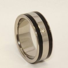 wooden wedding ring sets | Wood Ring set with a VVS DIAMOND - Titanium Wooden Diamond Wedding ...