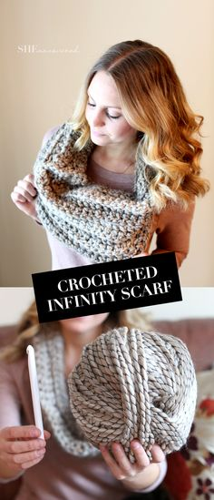 DIY: Crocheted Infinity Scarf - made in DC - I love the bulky yarn she used Diy Crochet Infinity Scarf, Crochet Scarf Diagram, Diy Scarf, Crochet Scarves, Crochet Patterns, Infinity Scarfs, Crocheted Scarf, Scarf Ideas, Scarf Patterns